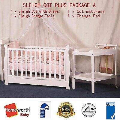 New Sleigh Cot Organic Innerspring Mattress  Change Table Pad Package Baby Bed