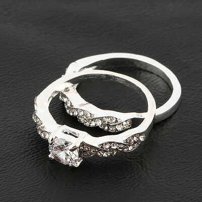 AU 2 Pcs Women's 925 Sterling Silver Plated Rehinestone Engagement Wedding Ring