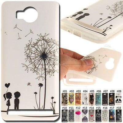 For Huawei Y3 II Back Shell Cover Soft Silicone Painted Case IMD+TPU Rubber Skin