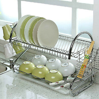 New 2 Tier Chrome Plate Dish Cutlery Cup Drainer Rack Drip Tray Plates Holder Uk
