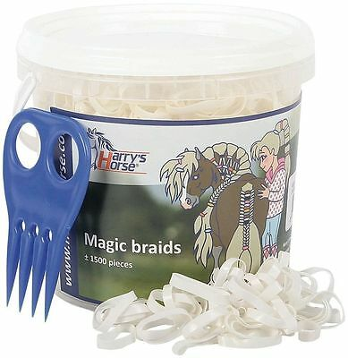 Harry's Horse Magic Braids Plaiting Elastic Bands - White REUSABLE BUCKET Harry'