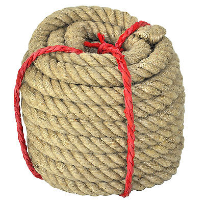 30M Super Strong Tug of War Rope 4 Strand Natural Jute Heavy Duty Garden UK
