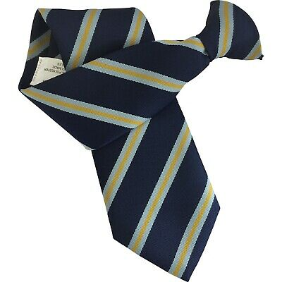 Navy Blue Mens Clip On Tie Clipper with Sky Blue + Yellow Gold Stripes