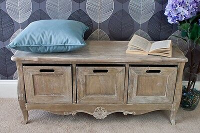 Shabby Chic Hallway Storage Bench Furniture Vintage Rustic Wooden Seat 3 Drawers