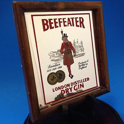Vintage - Beefeater Dry Gin Square Mirror in Wood Frame - 15cm x 16cm