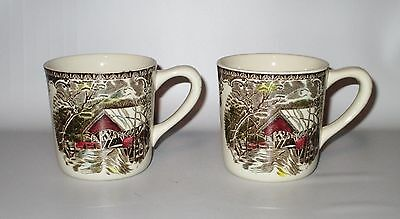 """Johnson Brothers Friendly Village 2 Mugs Covered Bridge Brown Red 3.25"""" England"""