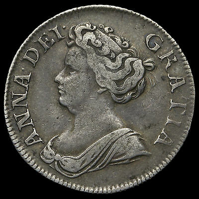 1711 Queen Anne Early Milled Silver Shilling, Fourth Bust, VF