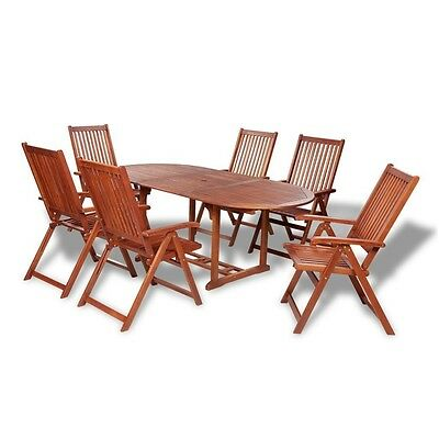Wooden Dining Set Garden Patio Furniture Outdoor 6 Chairs Table Folding Acacia