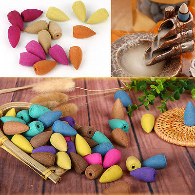 40X Natural Bullet Sandalwood Fragrance Incense Backflow Cones Tower Buddhism ER
