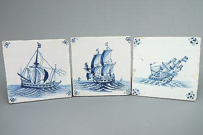 Three 17th century Blue and White Dutch Delft tiles depicting ships