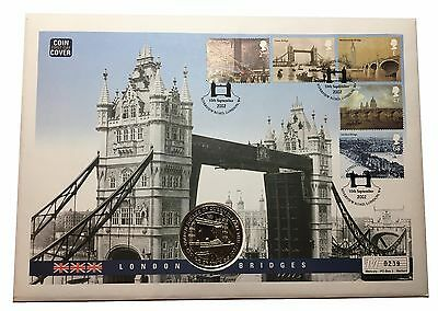 2002 Gibraltar London Bridges Coin Cover with 1 Crown Coin