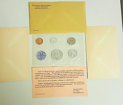 1963 Proof Set Original Envelope 90% Silver Franklin Washington US Mint 5 Coin