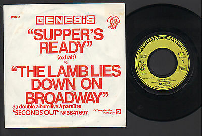"7"" Genesis Supper's Ready / The Lamb Lies Down On Broadway Rare Orig France 1977"