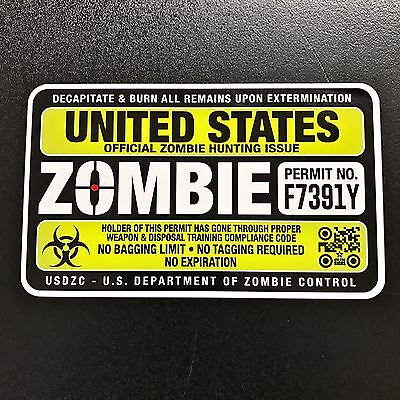 Hunting Permit - Zombie Sticker