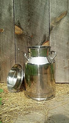 5 Gallon Heavy Duty Stainless Steel Milk Can with Old Fashioned Lid - New