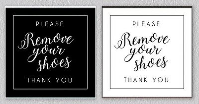 Please Remove Your Shoes Sign Engraved DOOR HOME Black or White SQUARE 3.5 inch