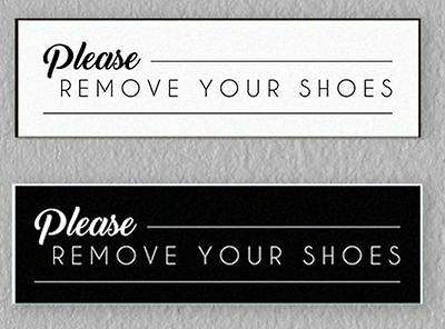 Please Remove Your Shoes Sign Engraved Door HOME Black text/&White dibond oval