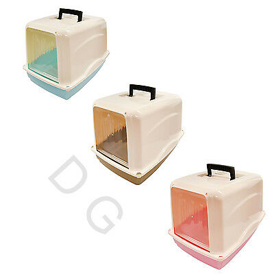 Portable  Cat Toilet Hooded Litter Box Carry Handle Tray 2 Way Swing Door