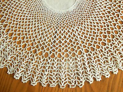 "Lovely Vintage 21"" Hand Crocheted Centerpiece ~ With 4"" Linen Center"