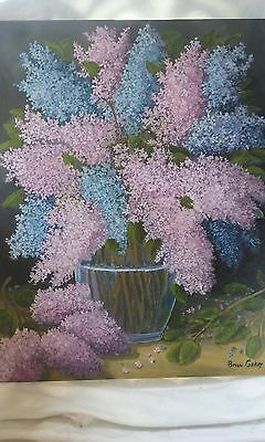 Original Oil Painting, Signed, Floral,lilacs In A Vase,still Life,botanical,