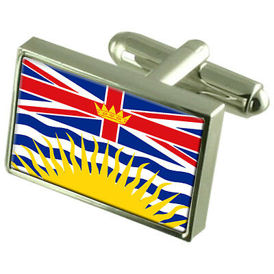 British Columbia Flag Cufflinks Tie Clip Lapel Badge Engraved Gift Set  WFC044