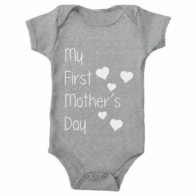 My First Mothers Day Baby Grow Bodysuit Cute New Romper Gift Her Mum Dad Newborn