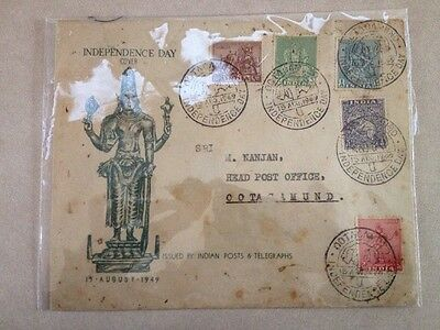 India First Day Cover Independence Day Ootacamund 15 Aug 1949