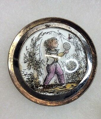 Georgian Time Period Button- Reverse Painted Boy Catching A Bug Rare (I157)