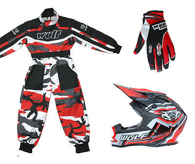 Kids Wulfsport MX Wulf Kit Motocross Overall Helmet & Glove Red Camo Set #24