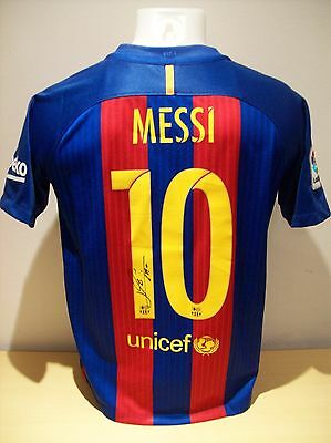 Lionel Messi Signed Replica Childs Size Barcelona Home Shirt AFTAL/UACC RD