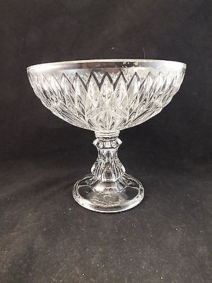 "Eapg Diamond And Leaf Pattern Open 7.5"" Dia Flint Glass Compote - Circa 1850"