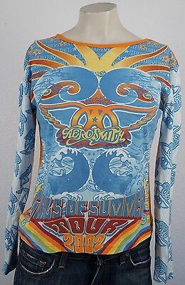 Aerosmith Girls of Summer Tour 2002 Giant Womens Size Small orange blue Shirt