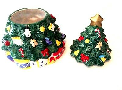 """COOKIE JAR Christmas Tree w/ Presents Holiday Gifts 12"""" Tall Excellent Condition"""