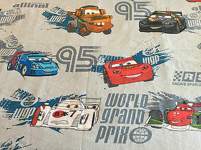DISNEY Pixar CARS Vintage TWIN Flat Bed Sheet Cutter Fabric Material Race Car
