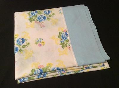 Vintage SEARS Double Flat Bed Sheet Lace Trim Cutter 70's Fabric Material 81x100