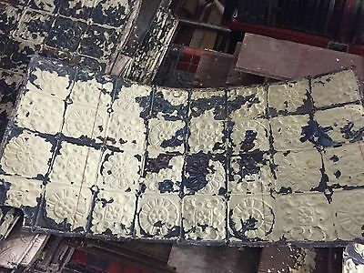 "antique VICTORIAN tin ceiling pressed FLORAL fleur pattern 24.75"" x 48"" - AS IS"