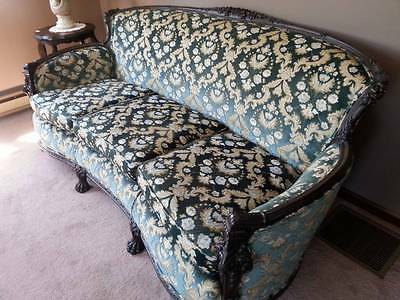 """Antique """"1800's Deep Blue/Green Velvet Couch W/Claw Feet and Carved Woodwork"""