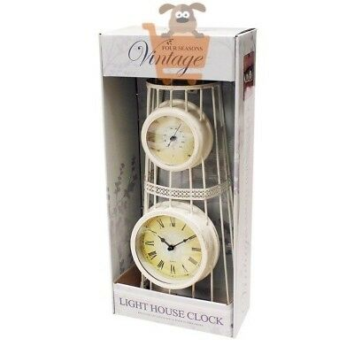 Lighthouse Garden Clock and Thermometer Antique Vintage Style White Metal