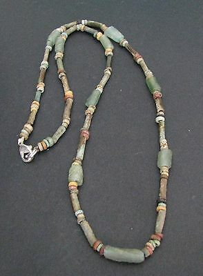 NILE Ancient Egyptian Glass Amulet Faience Mummy Bead Necklace ca 600 BC