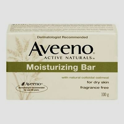 Aveeno Active Naturals Moisturizing Bar Dry Skin Fragrance Free Soap/100g