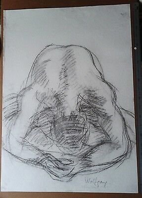 Willibrord Haas 1981 SIGNED ORIGINAL DRAWING MALE NUDE SITTING CHALK 104 x 74 cm