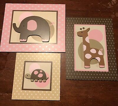 Lambs And Ivy Nursery Pink Brown Animal Baby Girl Decorations Wall Decor Jungle