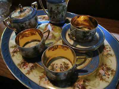 antique Rosenthal coffee tea set for 3 gold elaborate creamer sugar tray