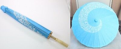 "23"" Inch tall Blue & White Spiral Pattern Wood Paper Parasol Umbrella Decoration"