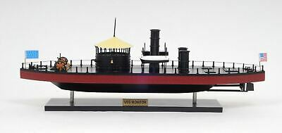 "USS Monitor Civil War Ironclad US Navy Warship 25"" Built Wooden Model  Assembled"