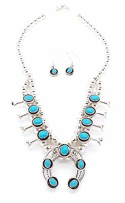 Navajo Sterling Silver Sleeping Beauty Squash Blossom Necklace Set - P&L Garcia