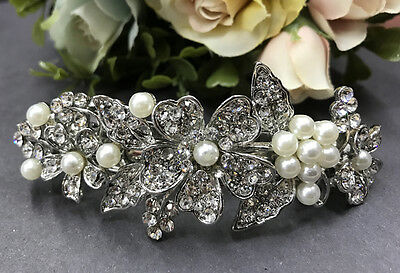 beautiful silver tone elegant wedding bridal barrette pearl crystal hairclip