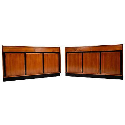 Pair of Mid-Century Modern Dillingham Credenzas Walnut Wood Ebonized Details