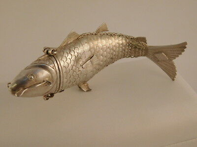 Chinese Silver Articulated Koi Fish Spice Box Container Jointed Trinket Prayer