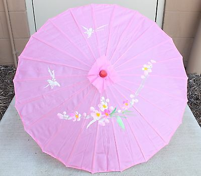 "22"" Inch tall Pink Floral Pattern Wood Bamboo Nylon Parasol Umbrella Decoration"